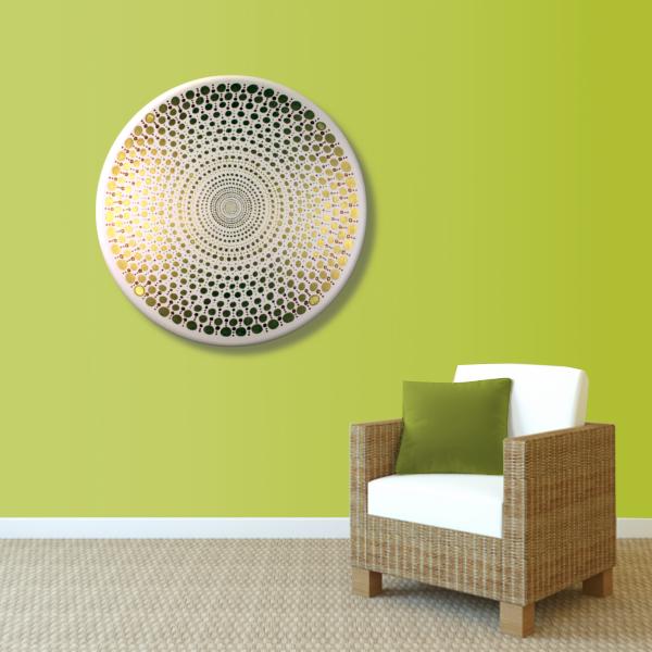 Wandbild Energiebild Mandala Element Metall gold_grün
