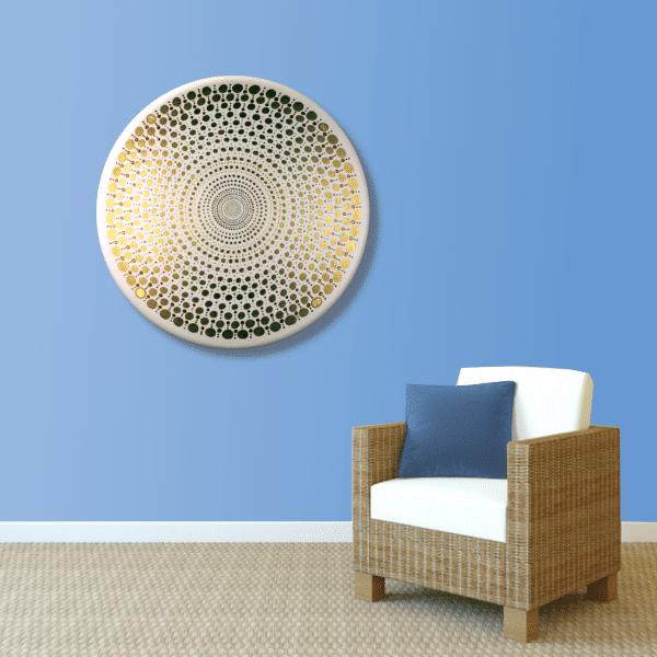 Wandbild Energiebild Mandala Element Metall gold_hellblau
