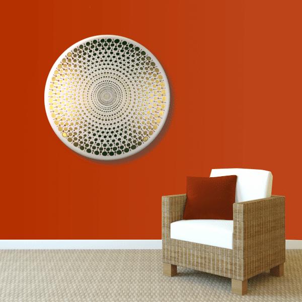 Wandbild Energiebild Mandala Element Metall gold_rot