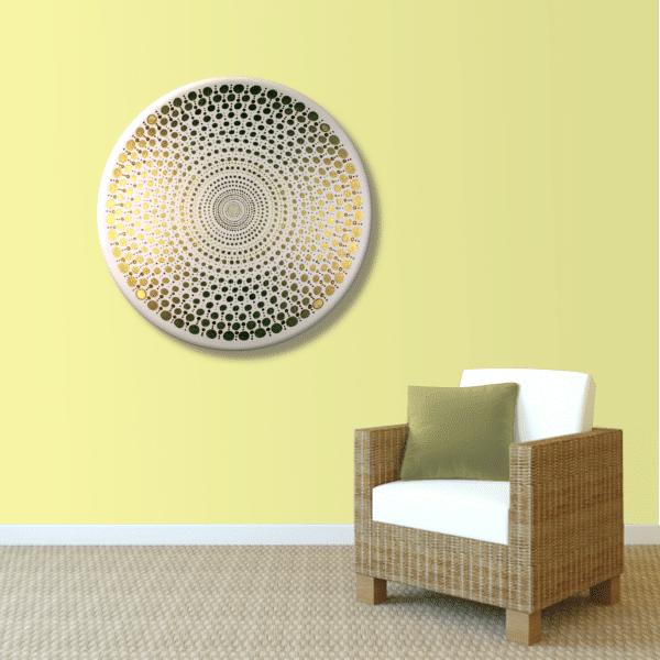 Wandbild Energiebild Mandala Element Metall gold_sand
