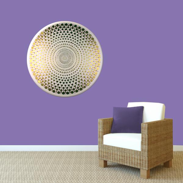 Wandbild Energiebild Mandala Element Metall gold_violett
