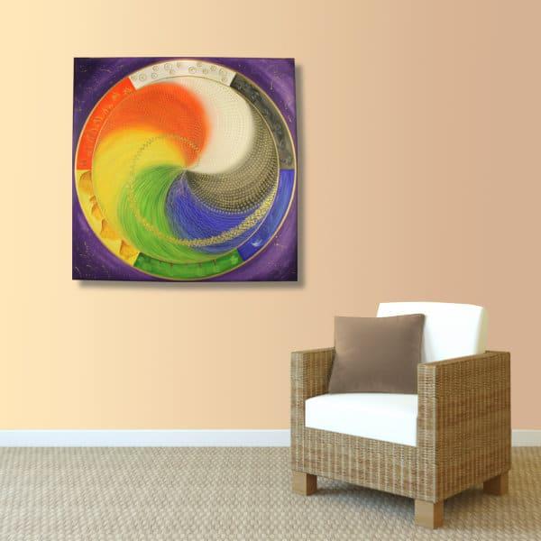 Wandbild Energiebild Mandala Elemente des Lebens_apricot