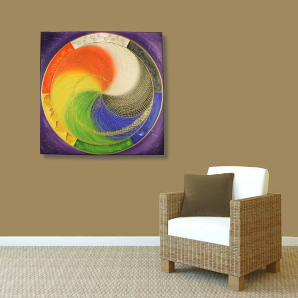 Wandbild Energiebild Mandala Elemente des Lebens_braun