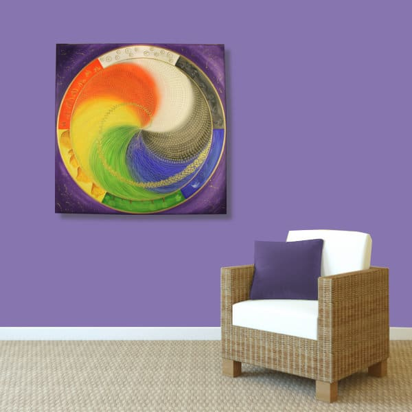 Wandbild Energiebild Mandala Elemente des Lebens_violett