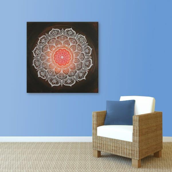 Wandbild Energiebild Mandala Gabe weiß schwarz_hellblau