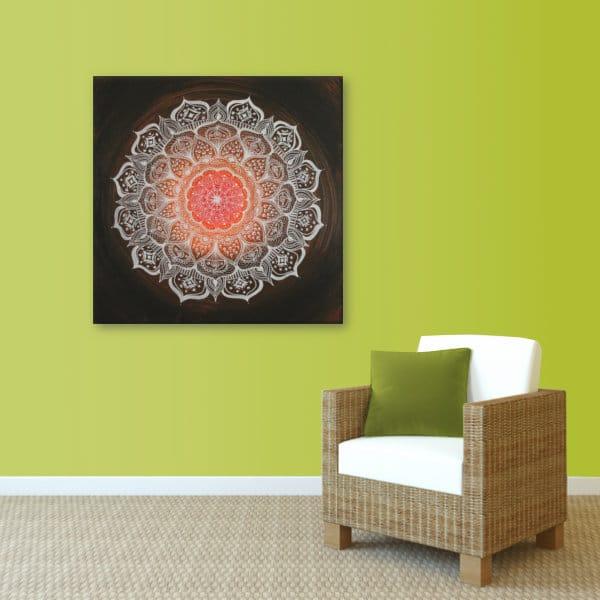 Wandbild Energiebild Mandala Gabe weiß schwarz_lindgrün