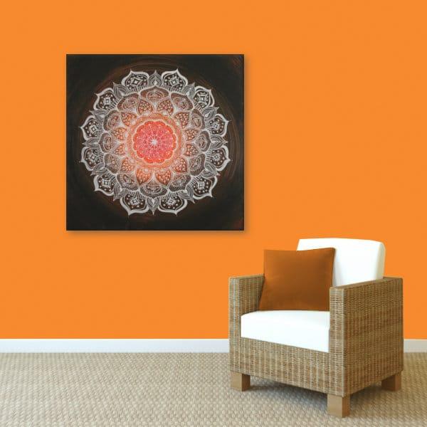 Wandbild Energiebild Mandala Gabe weiß schwarz_orange