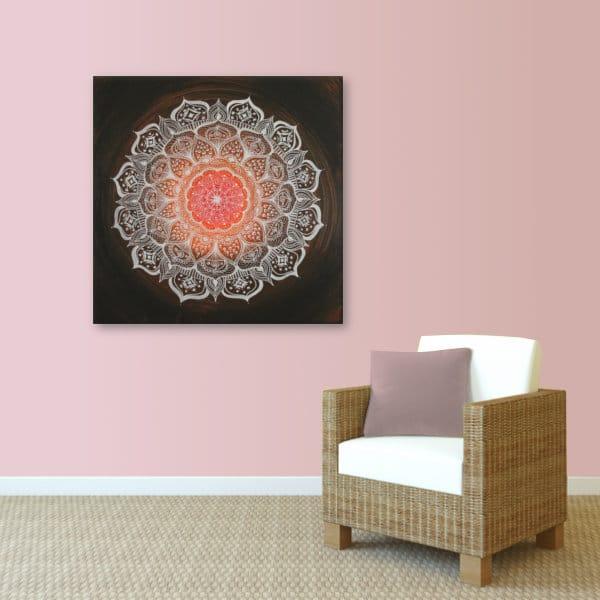 Wandbild Energiebild Mandala Gabe weiß schwarz_rosa