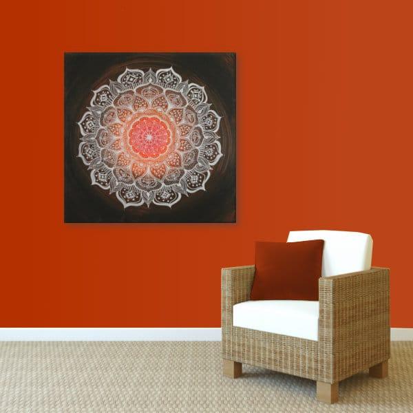 Wandbild Energiebild Mandala Gabe weiß schwarz_rot