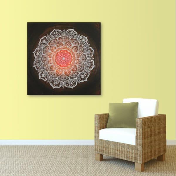 Wandbild Energiebild Mandala Gabe weiß schwarz_sand