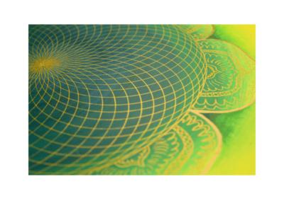Wandbild Energiebild Mandala Herz des Orients gold grün gelb_Detailbild