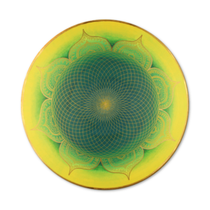 Wandbild Energiebild Mandala Herz des Orients gold grün gelb_Frontalbild