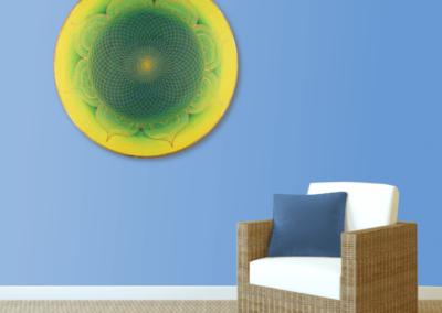 Wandbild Energiebild Mandala Herz des Orients gold grün gelb_blau