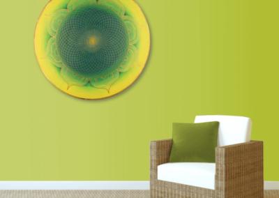 Wandbild Energiebild Mandala Herz des Orients gold grün gelb_grün