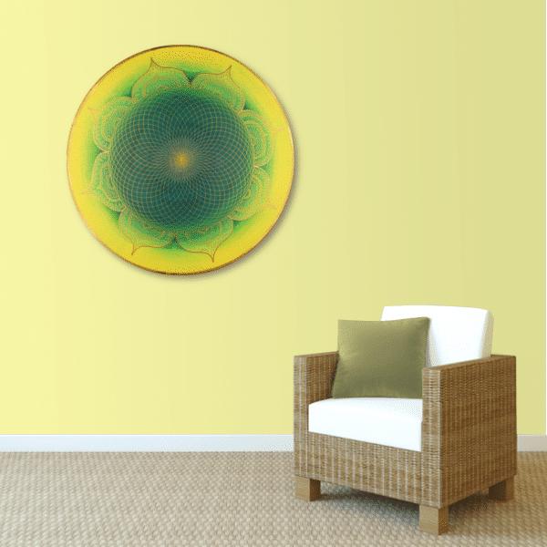 Wandbild Energiebild Mandala Herz des Orients gold grün gelb_sand