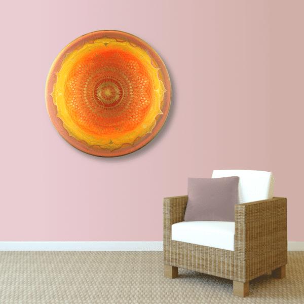 Wandbild Energiebild Mandala Muladhara Lebenskraft gold gelb_altrosa