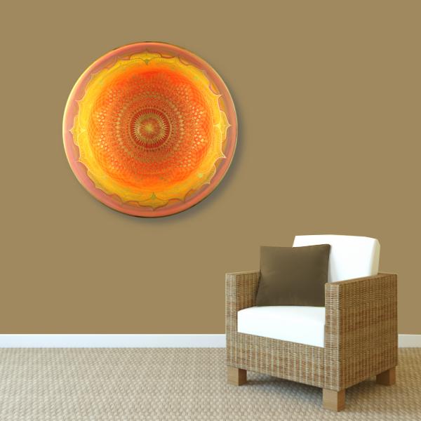 Wandbild Energiebild Mandala Muladhara Lebenskraft gold gelb_braun