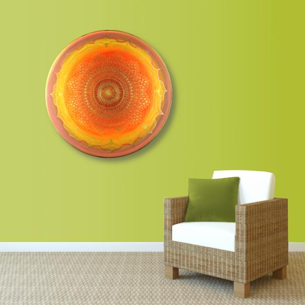 Wandbild Energiebild Mandala Muladhara Lebenskraft gold gelb_grün