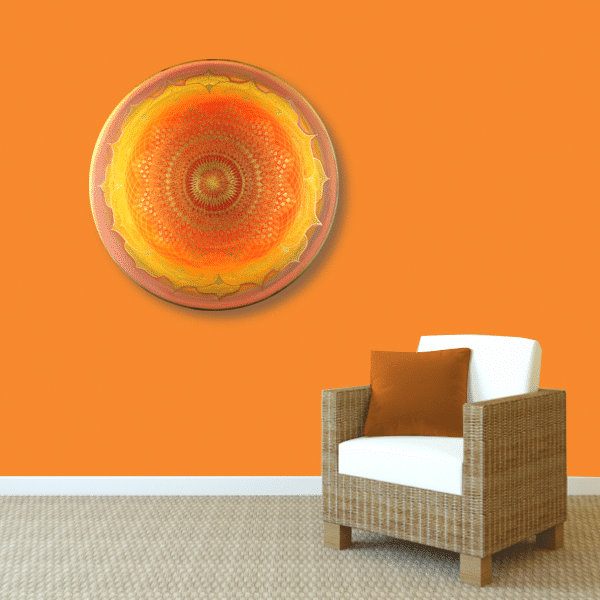 Wandbild Energiebild Mandala Muladhara Lebenskraft gold gelb_orange
