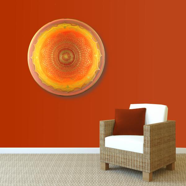 Wandbild Energiebild Mandala Muladhara Lebenskraft gold gelb_rot