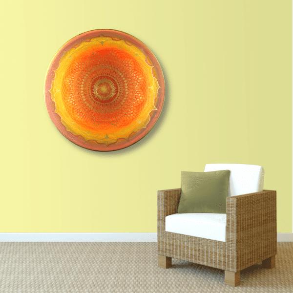 Wandbild Energiebild Mandala Muladhara Lebenskraft gold gelb_sand