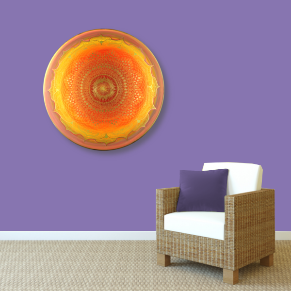 Wandbild Energiebild Mandala Muladhara Lebenskraft gold gelb_violett