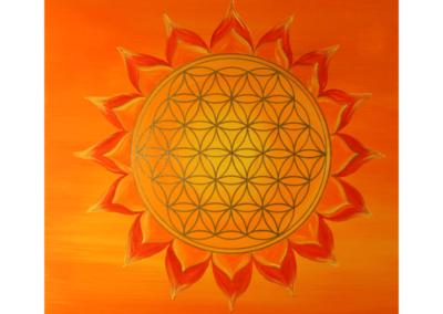 Wandbild Energiebild Power of Symbols Sri Yantra Gold orange_Detailbild_Blume des Lebens