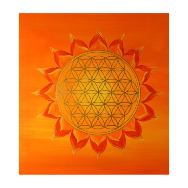 Wandbild Energiebild Power of Symbols Sri Yantra Gold orange_Detailbild_Blume des Lebens