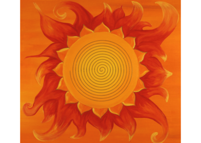 Wandbild Energiebild Power of Symbols Sri Yantra Gold orange_Detailbild_Spirale