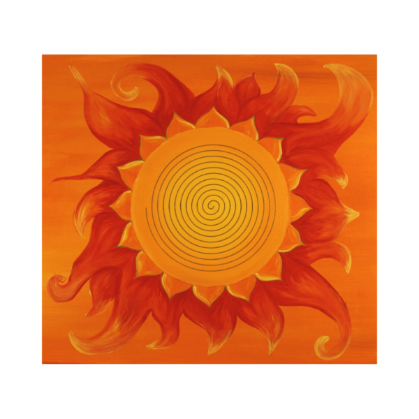 Wandbild Energiebild Power of Symbols Sri Yantra Gold orange_Detailbild_Spirale