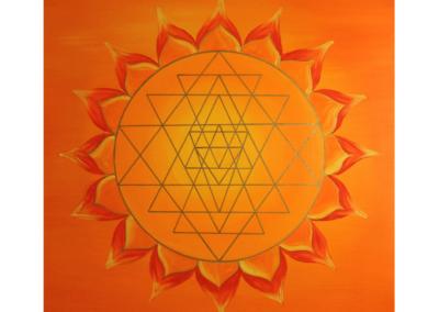Wandbild Energiebild Power of Symbols Sri Yantra Gold orange_Detailbild_Sri Yantra