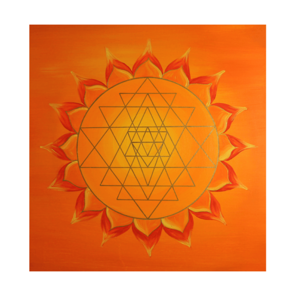 Wandbild Energiebild Power of Symbols Sri Yantra Gold orange_Detailbild_Sri Yantra