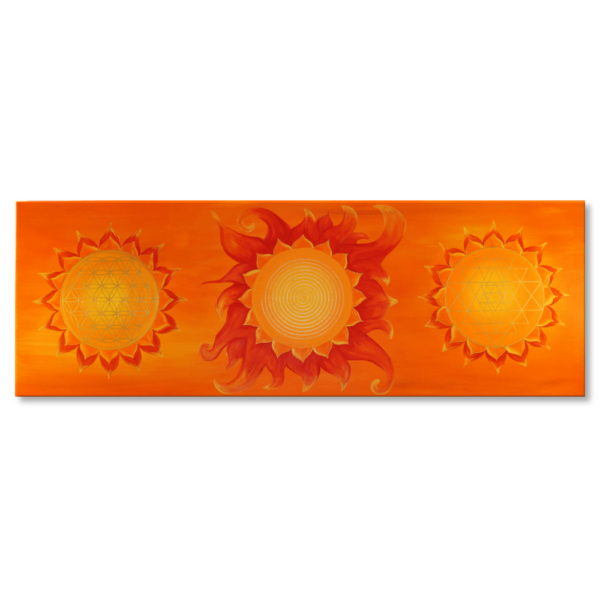 Wandbild Energiebild Power of Symbols Sri Yantra Gold orange_Frontalbild