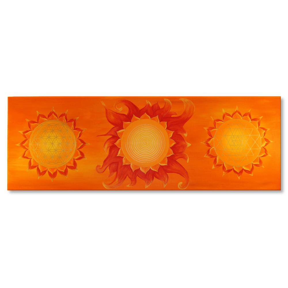 Wandbild Power of Symbols Blume des Lebens Spirale Sri Yantra Gold
