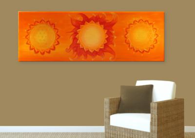 Wandbild Energiebild Power of Symbols Sri Yantra Gold orange_braun
