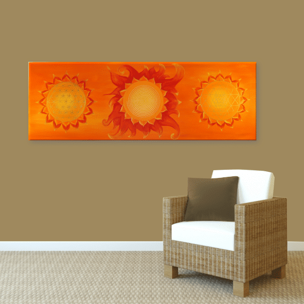 Wandbild Energiebild Power of Symbols Sri Yantra Gold orange_braun