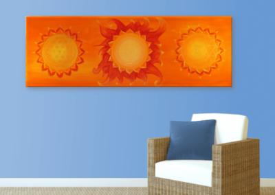 Wandbild Energiebild Power of Symbols Sri Yantra Gold orange_hellblau