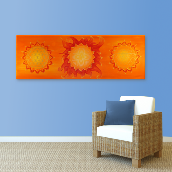 Wandbild Energiebild Power of Symbols Sri Yantra Gold orange_hellblau