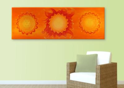 Wandbild Energiebild Power of Symbols Sri Yantra Gold orange_lindgrün