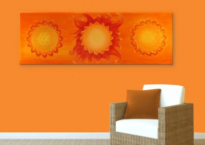 Wandbild Energiebild Power of Symbols Sri Yantra Gold orange_orange