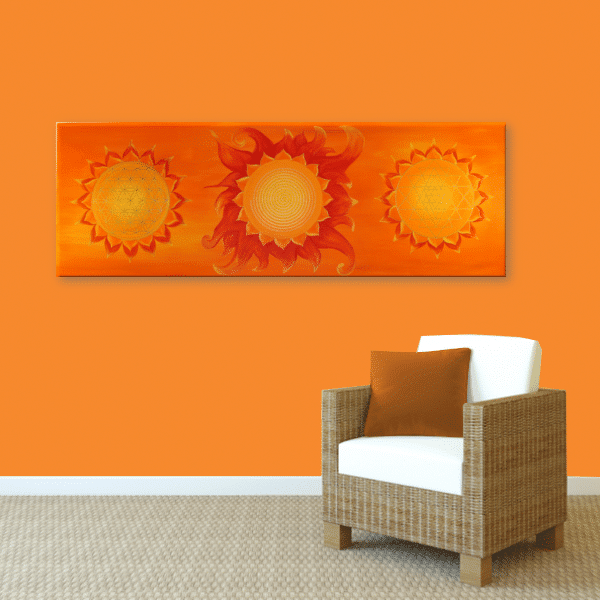 Wandbild Energiebild Power of Symbols Sri Yantra Gold orange_orange