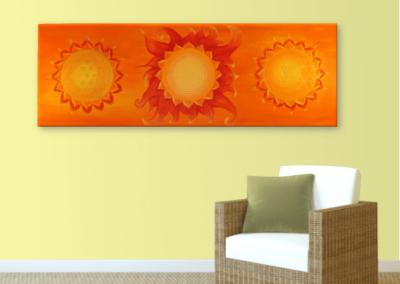 Wandbild Energiebild Power of Symbols Sri Yantra Gold orange_sand