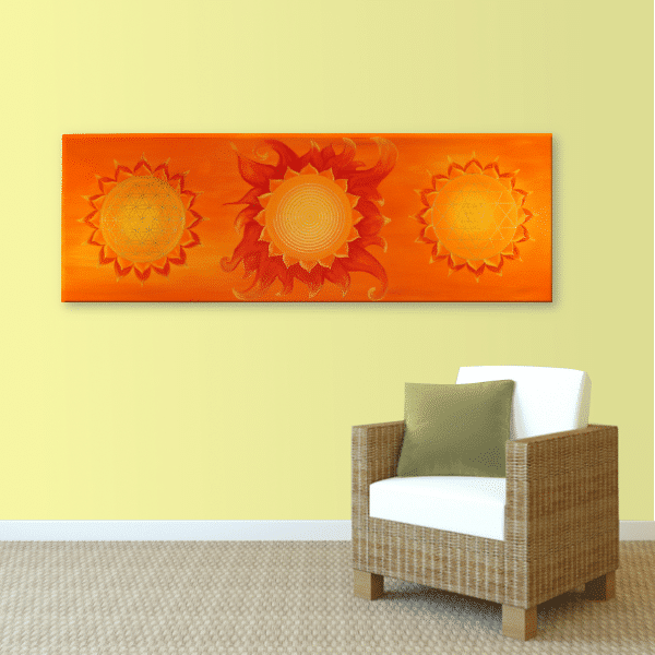 Wandbild Energiebild Power of Symbols Sri Yantra Gold orange_sand