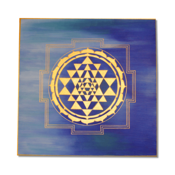 Wandbild Energiebild Sri Yantra Yantra in gold_Frontalbild