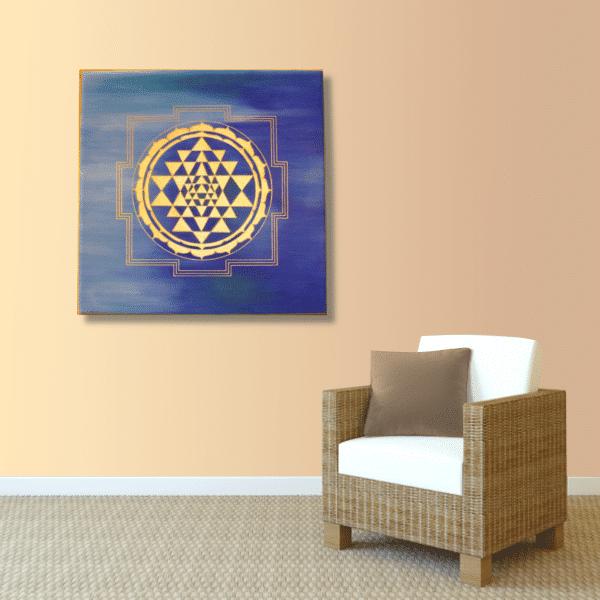 Wandbild Energiebild Sri Yantra Yantra in gold_apricot