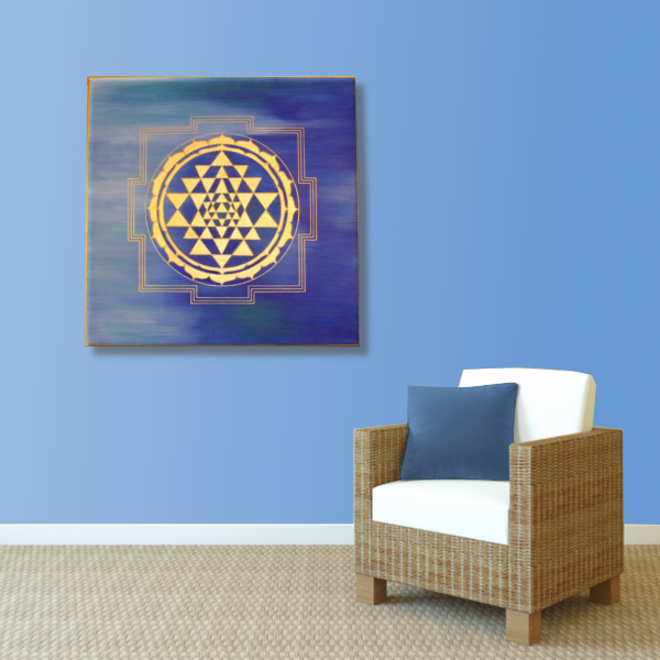 Wandbild Energiebild Sri Yantra Yantra in gold_blau