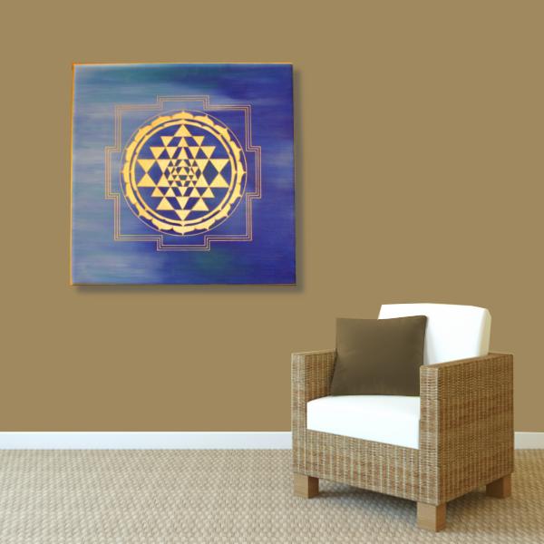 Wandbild Energiebild Sri Yantra Yantra in gold_braun