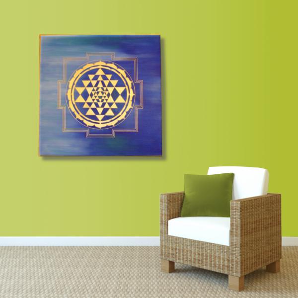 Wandbild Energiebild Sri Yantra Yantra in gold_grün