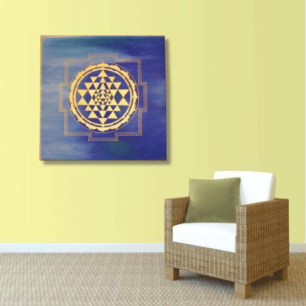 Wandbild Energiebild Sri Yantra Yantra in gold_sand