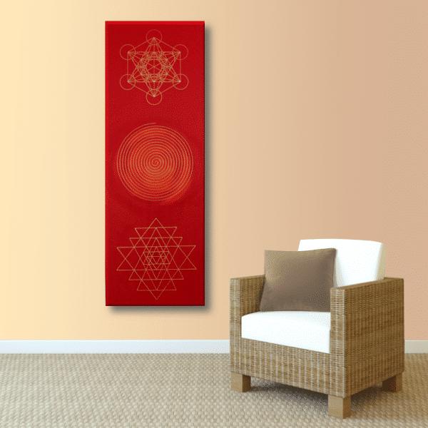 Wandbild Energiebild Weisheit und Wohlstand Sri Yantra Gold Spirale_apricot